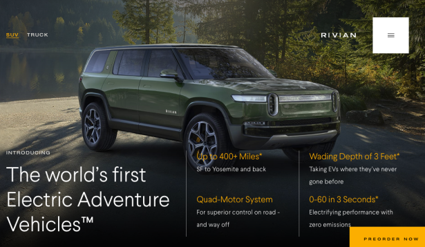 rivian all electric SUV seats 7 - 0 to 60 in 3 seconds